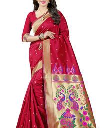 Buy Red woven paithani art silk saree with blouse paithani-saree online