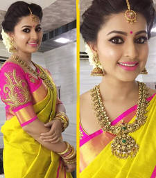 Buy Yellow Plain   chanderi_silk saree with blouse party-wear-saree online