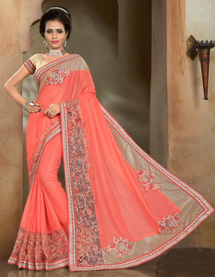 Dark coral embroidered Georgette saree with blouse
