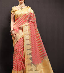 Buy pink woven organza saree with blouse organza-saree online