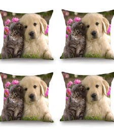 Buy Cute Animals HD Digital Premium Cushion Cover - Set of 4 (16 x 16 Inch) pillow-cover online