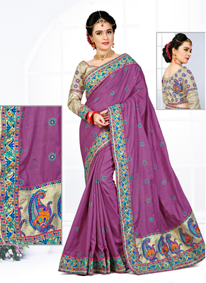 Light violet hand woven manipuri silk saree with blouse