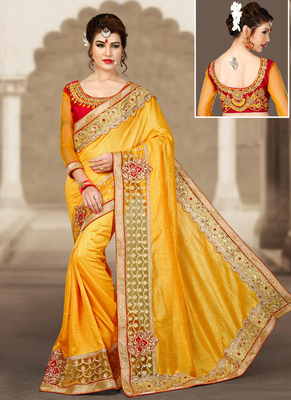 Yellow hand woven silk saree with blouse