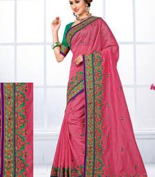 Buy Onion pink hand woven chanderi silk saree with blouse chanderi-saree online