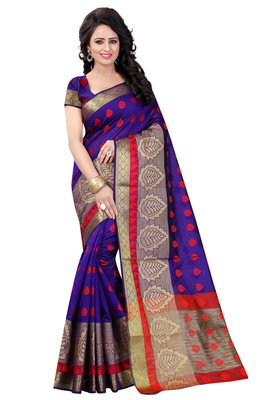 Purple hand woven cotton silk saree with blouse