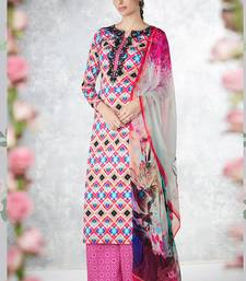 Buy Multicolor embroidered pure cotton silk semi stitched salwar with dupatta palazzo online