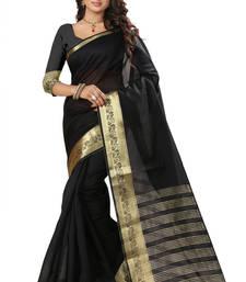 Buy Black embroidered art silk saree with blouse ikat-saree online