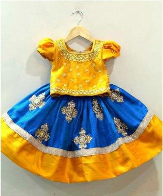 White Button Baby Girl's Mustard N Blue Mirror Embroidery Cotton Silk Readymade Wedding Wear Lehenga Choli Dress
