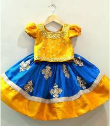 Buy White Button Baby Girl's Mustard N Blue Mirror Embroidery Cotton Silk Readymade Wedding Wear Lehenga Choli Dress kids-frock online