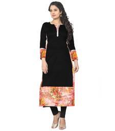 Buy Multi Printed Creap stitched kurti long-kurti online