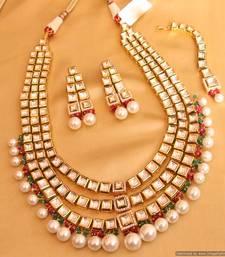 Buy Multicolour kundan meenakari bridal necklace set necklace-set online