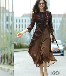 Buy light_brown printed georgette stitched kurti georgette-kurtis online