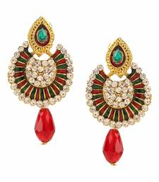 Buy Antique Gold Plated Red and Green Traditional Chandbali Earrings for Girls and Women danglers-drop online