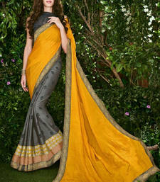 Buy Yellow printed georgette saree with blouse brasso-saree online