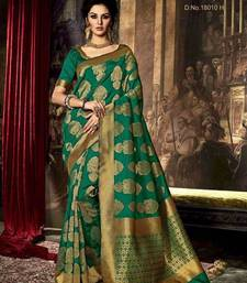 Buy Green printed poly cotton saree with blouse ethnic-saree online