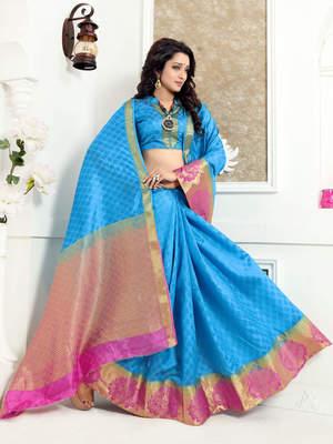 Aqua blue woven banarasi silk saree with blouse