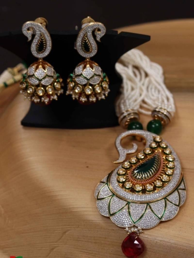 Buy bridal collection diamond kundan fusion pendant set with jhumka bridal collection diamond kundan fusion pendant set with jhumka aloadofball Gallery