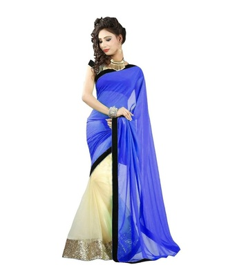 Blue plain net saree with blouse