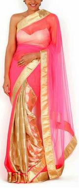 Indian Ethnic Replica Mandira Pink & Brown  Half Net and Half Chiffon Saree