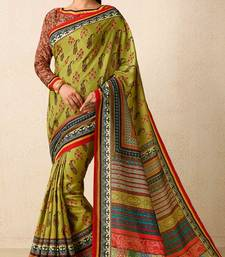 Buy Olive printed tussar silk saree with blouse tussar-silk-saree online