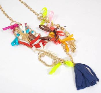 Multicolored Cotton Tussel Necklace