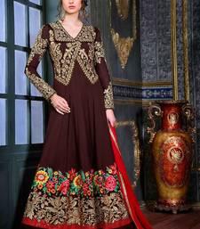 Buy Brown embroidered georgette semi stitched salwar with dupatta anarkali-salwar-kameez online
