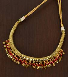 Buy Maroon Beaded Hasli necklaces Necklace online