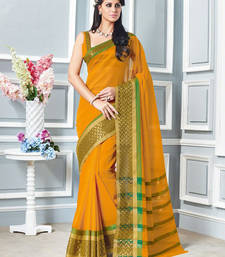 Buy Yellow hand woven cotton saree with blouse cotton-saree online