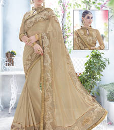 Buy beige embroidered fancy fabrics net saree with blouse designer-embroidered-saree online