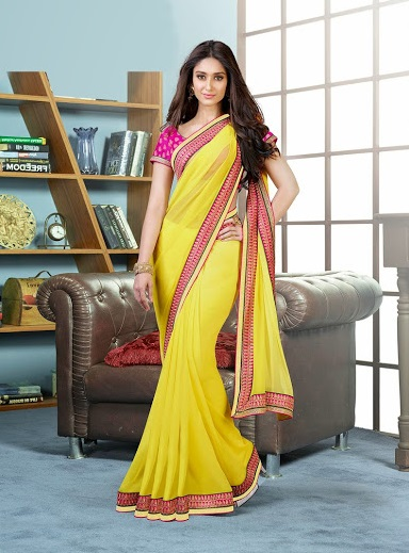 Buy Yellow Designer Ileana D Cruz Style Georgette Ethnic