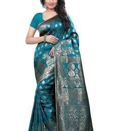 Buy Green woven banarasi silk saree with blouse banarasi-silk-saree online