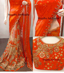 Buy Light orange embroidered georgette saree with blouse half-saree online