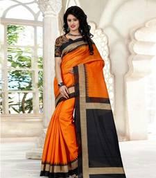 Buy Orange bhagalpuri cotton linen blend saree with blouse bhagalpuri-silk-saree online