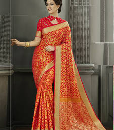Buy Orange woven patola saree with blouse heavy-work-saree online