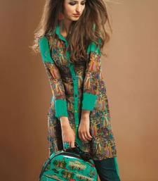 Buy Turquoise colour Georgette Digital Printed Pakistani Kurti pakistani-kurtis online