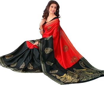 red printed Bhagalpuri saree with blouse.