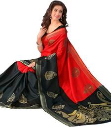 Buy red printed Bhagalpuri saree with blouse. bhagalpuri-silk-saree online