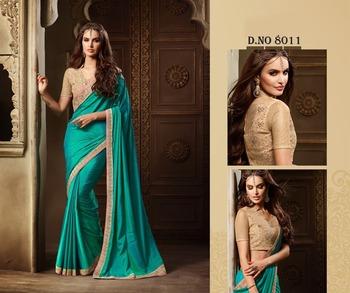 Sky blue embroidered silk saree
