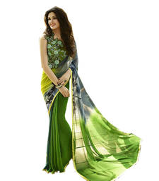 Buy Green printed georgette saree with blouse wedding-saree online