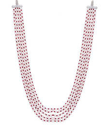 Buy Shell Pearls and Red Onyx Semi Precious Multistrand Necklace Necklace online