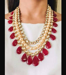 Buy Kundan and Pearls Multistrand Necklace with Red Onyx Stone Droplets Necklace online