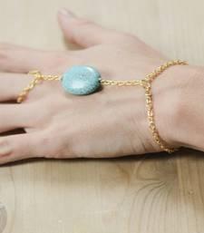 Buy Turquoise stone gold chain hathphool haath-phool-hath-panja online