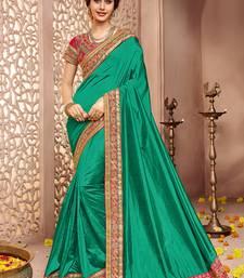Buy Green embroidered silk saree with blouse art-silk-saree online