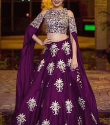 Buy Purple embroidered dupion silk unstitched lehenga with dupatta bridal-lehenga online
