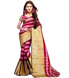 Buy Pink woven tussar silk,cotton linen blend saree with blouse tussar-silk-saree online