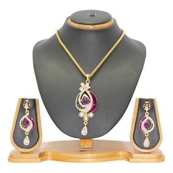 Purple cubic zirconia necklace-sets