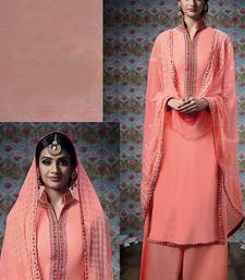 Buy Peach embroidered georgette salwar with dupatta palazzo online