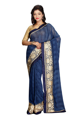 blue embroidered faux fancy fabric saree with blouse