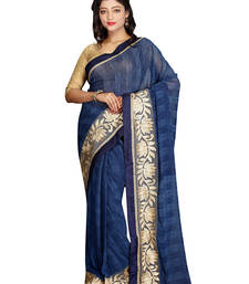 Buy   blue embroidered faux fancy fabric saree with blouse printed-saree online