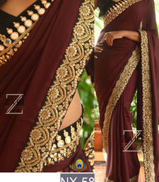 Buy Coffee embroidered georgette saree with blouse heavy-work-saree online